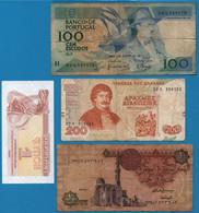 LOT BILLETS 4 BANKNOTES : PORTUGAL - GREECE - EGYPT - UKRAINA - Lots & Kiloware - Banknotes