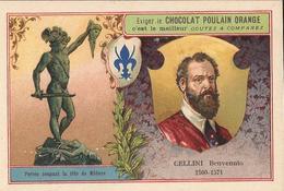 Chromo  CHOCOLAT POULAIN  /  Les  Sculpteurs Célèbres /  CELLINI Benvenuto  / Statue De Persée Coupant La Tête De Méduse - Poulain