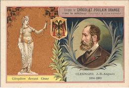 Chromo  CHOCOLAT POULAIN  /  Les  Sculpteurs  Célèbres /  CLESINGER  Jean-Baptiste  /  Statue De Cléopâtre Devant César - Poulain
