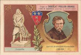 Chromo  CHOCOLAT POULAIN  /  Les  Sculpteurs  Célèbres  /  DAVID  D ' ANGERS Pierre-Jean  /  Statue De  Corneille - Poulain