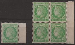 Cérès De Mazelin N°680 : Timbres Neufs** Impression Dépouillée, Nez Pointu Et Cartouche Partiellement Obstrué. - Varietà: 1945-49 Nuovi
