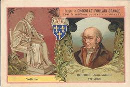 Chromo  CHOCOLAT POULAIN  /  Les  Sculpteurs  Célèbres /  HOUDON  Jean-Antoine  /  Statue De Voltaire - Poulain
