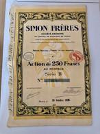 S.A.  SIMON  FRÈRES  --------Action  B  De  250 Frs - Industry