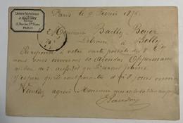 Etiquette Commerciale - Carte Précurseur Avec N°55 Etoile Rue Bonaparte 1876 - Etiquette J.BAUDRY - 1849-1876: Periodo Clásico