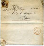 Lettre  Avec N° 28 + Losange GC 4116 Vaugirard  Pour  Paris ( Cachet  Rouge )  En  1865 ( T 249 ) - 1849-1876: Klassik