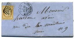 Lettre  Avec N° 59 Cérès + Losange GC 2523 Montrouge  Paris Pour  Paris  En 1872( T 250 ) - 1849-1876: Klassik