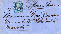 Paris - Env Sans Corr Affr N° 22 (ld) Obl Etoile 9P1 Tàd R. Du Fg-St-Honoré - 1849-1876: Période Classique