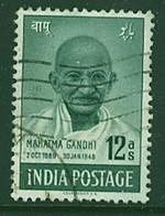 INDIA 1948 12a Grey-green Gandhi SG 307 Sound Used - Gebruikt