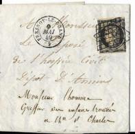 02-Aisne ,Grille Sur N°3,Mai1849,Fresnoy-le-Grand,Ind 19 (filet Droit Touché) - 1849-1876: Classic Period