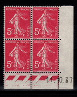 Coin Daté - YV 278B N** Semeuse Du 14.10.37 - 1930-1939