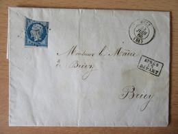 Lettre Ancienne 1860 Du Maire De Metz Pour Le Maire De Briey (Meurthe-et-Moselle) - Timbre N°14A - Ob. Après Le Départ - 1849-1876: Klassik