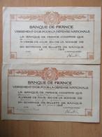 Banque De France - 2 Reçus De 20 Et 80 Francs Pour Versement D'or Pour La Défense Nationale - 1915 Et 1916 - Historische Dokumente