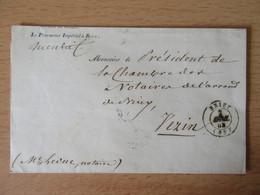 Lettre Du Procureur Impérial De Briey Circulée En 1853 - 1849-1876: Klassik