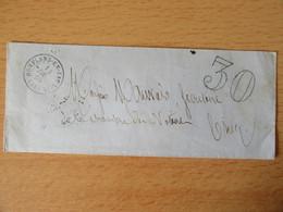 Enveloppe Taxée 30c - Conflans-En-Jarnisy Vers Briey 1866 - Ambulant Nancy à Forbach - 1849-1876: Klassik