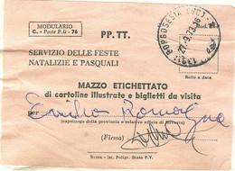 """""""MODULARIO C.- POSTE P.LI - 76"""" -SERVIZIO POSTE NATALIZIE E PASQUALI,MAZZO ETICHETTATAO,1973, POSTE BORGOSESIA(VERCELLI) - 1971-80: Marcophilia"""