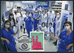 ANDORRA ANDORRE (2021) - Carte Maximum Card Homenatge Esforços COVID-19 - Health Workers, Masque, Mask, Virus, Hospital - Cartas Máxima