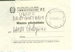 """""""AMMINISTRAZIONE P.T.MOD. 24-F(1987)-MAZZO ETICHETTATO- TIMBRO POSTE SASSARI C.P. MODULO SERVIZIO POSTALE - 2001-10: Marcophilia"""