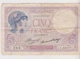 5 Francs 1933 - 5 F 1917-1940 ''Violet''