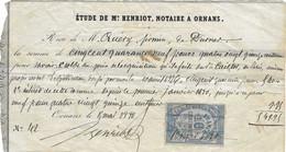 1880 Reçu De M° Henriot, Notaire à Ornans / Pour Quévy Firmin De Durnes / 25 Doubs - 1800 – 1899