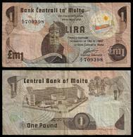 MALTA BANKNOTE - 1 POUND 1967 (1979) P#34a F/VF (NT#03) - Malta