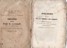 """2 Livres - """" Discours De THIERS--  Discours De GUIZOT """" - - 1801-1900"""