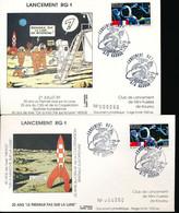 FRANCE SPACE ODYSSEY TINTIN LANCEMENT RG1 KOUROU 1989 - Cartas