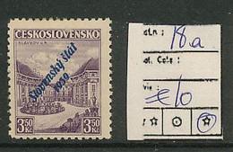 SLOVENSKO YVERT 18a BLUE OVERPRINT LH - Nuevos