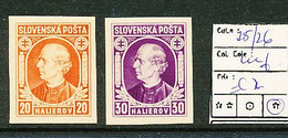 SLOVENSKO YVERT 25/26 IMPERFORATED LH - Nuevos