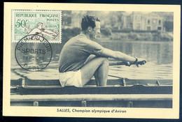 Cpa Carte Maximum  28 Nov 1953 - Salles - Champion Olympique D' Aviron   NOV20-73 - 1950-59