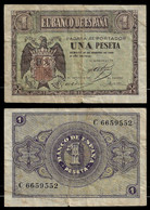 SPAIN BANKNOTE - 1 PESETA 1938 P#107 F (NT#03) - 1-2 Pesetas