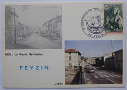 FEYZIN (69/Rhône) - Route Nationale 1900 1974 - Carte Philatélique Timbre CROIX ROUGE Et Cachet Commémoratif Expo 1974 - Feyzin