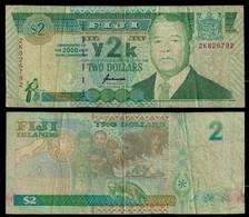 FIJI BANKNOTE 2 DOLLARS 2000 P#102 F/VF (NT#03) - Fiji