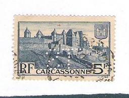 Timbre Perforé LS Superbe Sur 5 Frcs Carcassonne Yvert 392 - Perforadas