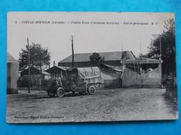 33 : CONTAU-HOURTIN : CENTRE ECOLE D'AVIATION MARITIME , ENTREE PRINCIPALE, Animé  , CPA , En Bon état - Caserme