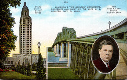 Louisiana Baton Rouge State Capitol Building & Huey P Long Bridge New Orleans - Baton Rouge