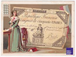 Chromo Billet Loterie 1880 Bognard Paris Madame Roland Assignat Cinquante Livres Monnaie Révolution Baret Banque 47-45 - Other