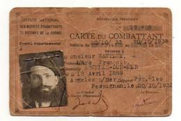 Carte Du Combattant Valable Du 20.10.1933 Au 20.10.1938 à Perpignan En 1933 - Format : 11.5x7.5 Cm - 1939-45
