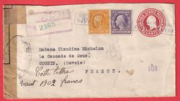 WW1 CENSURE CENSOR ENTIER ETATS UNIS RECOMMANDE POUR COGNIN SAVOIE 1918 - 1901-20