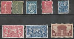 France 1903 - 1929 Lot De 8  Timbres Neufs **- N° Yvert 129, 130, 209, 243, 244, 245, 257 Et 258  - C 160€ - - Zonder Classificatie