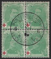 """Belgique Croix Rouge 1914/15 N°129 Bloc De 4 Oblitéré """"6 Postes Militaires Belges 6"""" Superbe !! - 1914-1915 Red Cross"""