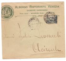 """WQ40   Regno 1914 - Lettera """"Albergo Ristorante Venezia"""" Messina X Acireale + Annullo Amb. Messina-Siracusa - Marcofilía"""