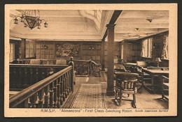 "RMSP ""ALMANZORA"" (South America Service) First Class Smoking Room. Old Postcard SHIP INTERIOR. Troopship - Piroscafi"