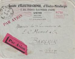SAVOIE - UGINE - STE D'ELECTRO-CHIMIE - ACIERIES ELECTRIQUES D'UGINE - EMA LE 6-10-1931 - TARIF 7F5 -LETTRE POUR BANGKOK - EMA (Print Machine)