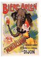 """CPM Publicitaire""""Bière ARLEN""""--Strasbourg 1809-MONTBELIARD--DIJON--éléphant-affiches COURBE-ROUZET à Dôle - Advertising"""