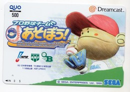 CARTE QUO PREPAID JAPON SEGA  DREAMCAST 1999 BASE BALL - Giochi