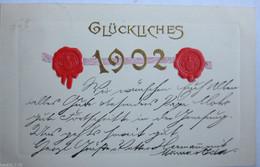 """""""Neujahr, Jahreszahl, Siegel"""" 1910, Goldprägekarte ♥  (6053) - New Year"""