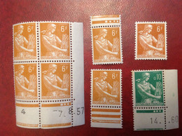 France NEUF ** N°  1115 Et 1231  Moissoneuse Coin Daté Et Variété Couleur 8 Timbres - Unused Stamps
