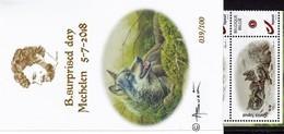 """Postzegelboekje 070/100 Strook Met 5 Verschillende Zegels """"Wolven"""" En Stempel B.surprised Day 5/7/2018 André Buzin - 1985-.. Pájaros (Buzin)"""