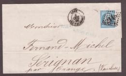 LSC 8 Oct 1866 - GC 2145A Lyon Les Terreaux Pour Sérignan Par Orange - N° 22 Bleu - Vs :T22 Perlé Sérignan - 1849-1876: Klassieke Periode