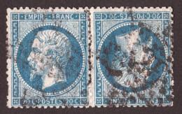Paire Tête-bêche Napoléon III N° 22 Bleu Foncé - Oblitération GC ? - 1862 Napoléon III.